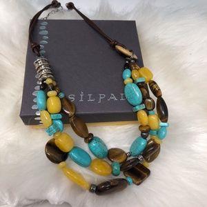 SILPADA 925 Turquoise Tiger Eye Quartzite Necklace